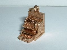 VINTAGE 14k YELLOW GOLD 3D CASH REGISTER MONEY CHARM opens in Charms & Charm Bracelets | eBay