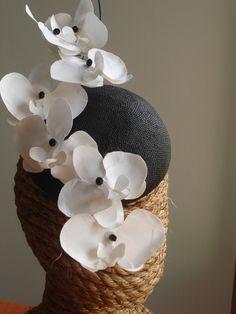 Kentucky Derby Hat - White Orchid Branch Fascinator Headpiece