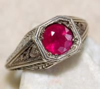ELECTRIC 2 CTW FANCY PINK RUBY ART DECO STYLE RING~SOLID 925 SS~SZ.7~HEIRLOOM PIECE! SALE! HURRY! $83.99
