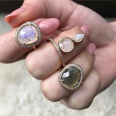 Moonstone and lab beauties on this beautiful Friday!!!  @localeclectic