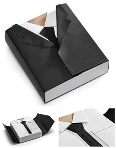 "Entirely made from cardboard, this snazzy little sucker is the perfect leave behind when you intend to make a smart impression. Inspired by a certain English spy - this chap here presents as a nice and tidy suit. Rocking up to meetings looking rather dapper for the occasion, whilst you're wearing your tight black jeans and favourite t-shirt.     The suit jacket opens up like a charm and presents a business card, neatly tucked into the shirt pocket…nice."" Think Packaging."