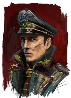 """"""" Astra Militarum Commissar Portrait by Aguilas """" This is beautiful. Those eyes. """""""