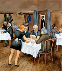 Cafe Bar - Inari Krohn , 1973 watercolour on paper, x cm Art Cafe, Nordic Art, Cafe Bar, Finland, Art Gallery, Illustration Art, Sketches, Watercolor, Drawings