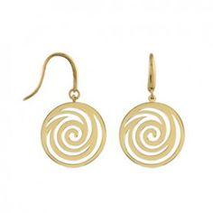 Boucles d'oreilles pendantes en plaqué or rond avec spirale et fermoir crochet