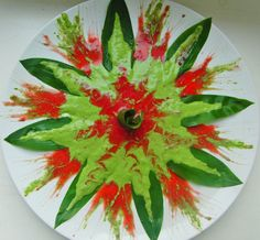 Raw Food Art Wild greens with raspberry sauce :-)
