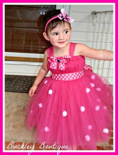 Minnie Mouse Inspired Tutu Birthday Dress in Fuschia    www.facebook.com/MelodysTutus