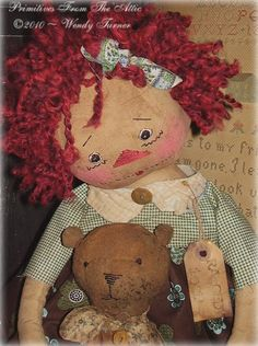 Awww..I think these little ones are made to look old...but I love this little Raggedy Ann....she is adorable! Raggedy by Wendy Turner of Primitives From The Attic