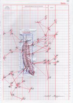 """Isabel Somoza / serie """"me meto en líos"""" Dibujo sobre ticket y papel de contabilidad."""