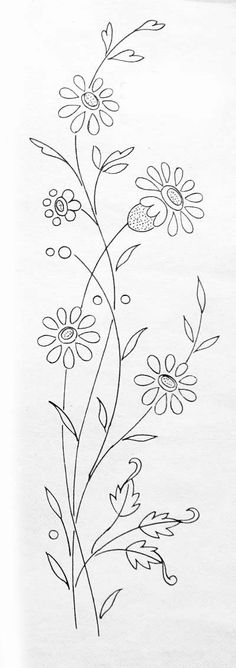 Embroidery Pattern of Tiny Flowers. No Link Available. Diy Embroidery Flowers, Border Embroidery Designs, Floral Embroidery Patterns, Embroidery Stitches Tutorial, Simple Embroidery, Embroidery Hoop Art, Ribbon Embroidery, Free Machine Embroidery Designs, Bordado Floral