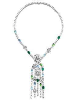 Piaget #Rose Passion necklace in white gold, diamonds, emeralds, green tourmalines, Paraiba tourmalines and aquamarines