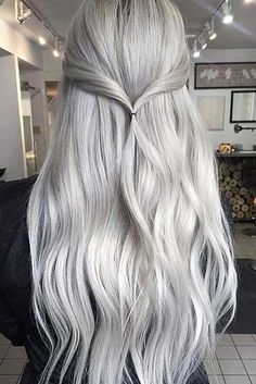Granny Silver/ Grey Hair Color Ideas: Vanilla Grey Long Hair hair, 85 Silver Hair Color Ideas and Tips for Dyeing, Maintaining Your Grey Hair Grey Blonde Hair, Silver Grey Hair, Silver Blonde, Blonde Color, Platinum Blonde, Gray Color, Long Grey Hair, Silver Color, Grey White Hair