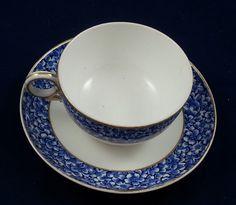 1878  Royal Worcester Blue Floral Cup & Saucer #RoyalWorcester