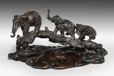 Japenese Bronze of Three Elephants (Japan)