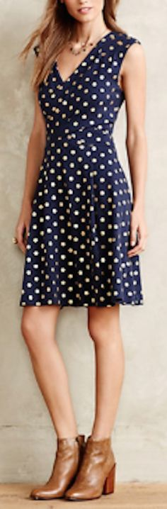 such a cute polka dot midi dress with little booties #anthrofave http://rstyle.me/n/rzhemr9te