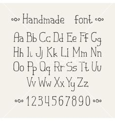 Simple monochrome hand drawn font complete abc vector by Krolja on VectorStock®