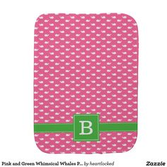Pink and Green Whimsical Whales Pattern Monogram Baby Burp Cloth