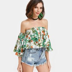 SheIn Off The Shoulder 3/4 Sleeve Blouse Woman's Fashion 17 Summer Bardot Neckline Flute Sleeve Tropical Print Crop Top - StyleMeUp