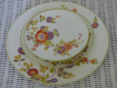 Sold!  Peony by Mikasa - Bone China - 4 Pieces - Dinner Plate - 2 Salads - 1 Bread - Undamaged - Colorful - Sweet Vintage Pattern - Peonies - Chic by ChicAvantGarde on Etsy
