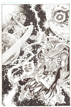 Anthony's Comic Book Art :: For Sale Artwork :: Doom 2099 vs. Magus, the �Evil� Warlock Commission - Signedby artist Pat Broderick