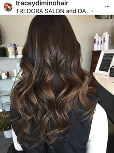 Chocolate brown hair color, brunette , shiny hair, long hair ideas, curls, waves, warm brown, dark brown hair, highlights, balayage, brown balayage, chocolate balayage, caramel highlights