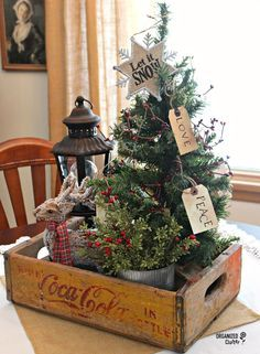Rustic Christmas Coca-Cola Crate Vignette