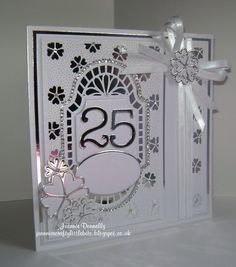 25th Silver Wedding Anniversary using Creative Expressions / Sue Wilson New Zealand Collection Dies - Background and Finishing Touches -Sweetheart Flower. Also using Nellie Snellen Ovals and Memory Box Numbers