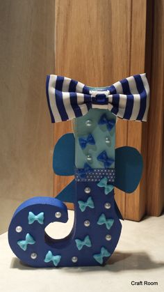 """Blue """"J"""" with bows Freestanding Wooden Letters, Bows, Handmade, Arches, Hand Made, Bowties, Ribbon, Bow, Boutique Bows"""