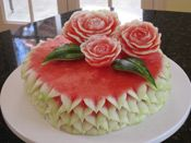 Carved watermelon cake with roses.. too cool this is a better choice for a birthday cake