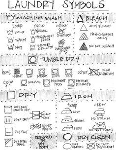 Laundry Symbol Cheat Sheet - http://DesignedByBH.com/ - #laundry #symbol #cheatsheet