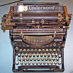 Underwood - this is actually very old .it was similar to my parents' and this is what i had to practice my typing on at home when i took typing class at school.and if i missed a letter, my finger(s) would fall between the keys and IT HURT! Old Fashioned Typewriter, Antique Typewriter, Typewriter Keys, Miss The Old Days, The Good Old Days, Underwood Typewriter, Radios, Old Tools, Vintage Typewriters