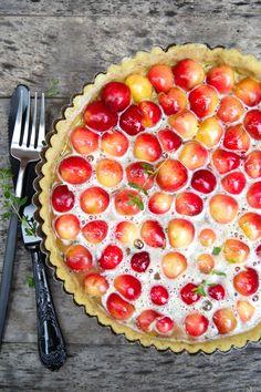 Just beautiful!! Rainier Cherry Tart Recipe with Lime and Lemon Thyme