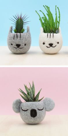 The Yarn Kitchen | felted animal planters | animal planters | planter | gardening