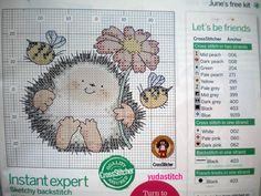 """Let's be friends"" or ""bee happy"" by Margaret Sherry. It was a gift kit in a cross stitcher magazine once upon a time from what I understand. Hedgehog Cross Stitch, Mini Cross Stitch, Cross Stitch Animals, Baby Cross Stitch Patterns, Cross Stitch Charts, Cross Stitch Designs, Chat Crochet, Crochet Cross, Cross Stitching"