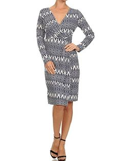 83b521a4447 Avital Faux Wrap White Navy Blue Print Day Dress (Small) at Amazon Women s  Clothing store