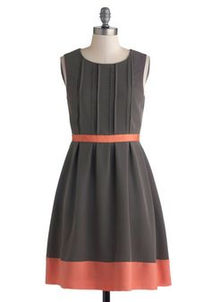 Posh Presentation Dress - Mid-length, Woven, Grey, Coral, Exposed zipper, Pleats, Party, A-line, Sleeveless, Better, Scoop, Work, Colorblocking