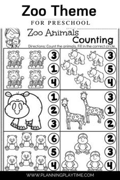 Count the Number of each Animal in the Zoo. (Counting & Number Recognition Worksheet)