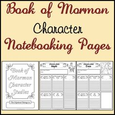 LDS Notebooking: Free Book of Mormon and Bible Character Study Notebooking Pages- Do these as a review