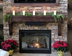 Gorgeous mantel on rock/brick. What we've been looking for!