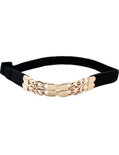 Black Elastic Metal Chain Belt - Sheinside.com