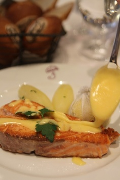 Grilled Salmon with Chive potatoes and Hollandaise Sauce