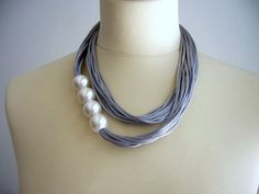 Grey and pearls satin necklace by stavroula on Etsy