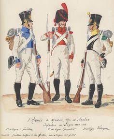 Naples; 1st Line Infantry, Fusilier. 2nd Line Infantry, Grenadier & 3rd Line Infantry, c.1813 by H.Boisselier