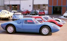 A trio of just completed Porsche 904 Carrera GTs await shipment among a gaggle of Porsche 356s outside the Porsche factory in the winter of 1964 via /r/Autos