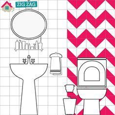 Decoração com triângulos adesivos #decor #tape #bathroom