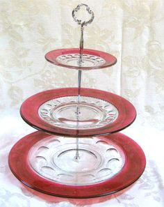 Indiana Glass King's Crown Ruby 3 Tiered Serving Dish