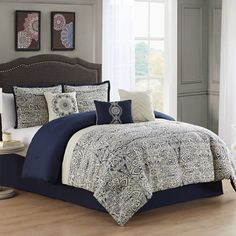 Add an elegant touch to your master suite with this stunning Marian comforter set. Navy Bedding, Linen Bedding, Bed Linens, Bath, Space Furniture, Mattress Brands, Queen, Comforter Sets, Luxury Bedding