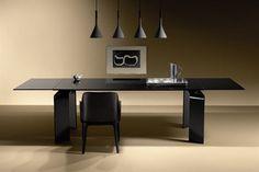 Contemporary table / glass / curved glass / extending RAY PLUS BLACK by Bartoli Design FIAM ITALIA