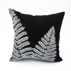 Black White Pillow Cover Fern Throw Pillow Cover Black от KainKain