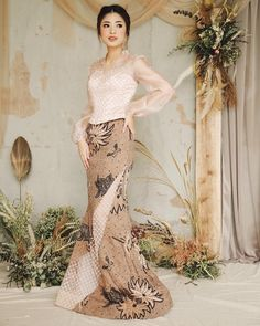 Image may contain: 1 person, standing Kebaya Lace, Batik Kebaya, Kebaya Dress, Batik Dress, Kebaya Pink, Model Kebaya Modern, Kebaya Modern Dress, Traditional Dresses Designs, Myanmar Dress Design