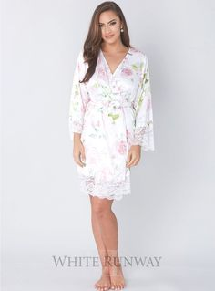 Exclusive Blush Amorette Robe By Homebodii  Soft and silky Homebodii bridesmaid & Bridal robe with lace detailing on the sleeves and hem. Perfect for Make-up and Hair application on the Wedding Day or just to have whilst getting ready! Please measure your Bust for the best fit.   Exclusive floral print available at White Runway only A wrap-style robe with an easy fit
